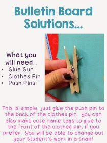 The CraZy Schoolteacher: Bright Ideas: Use a Clothes Pin, Save a Staple!