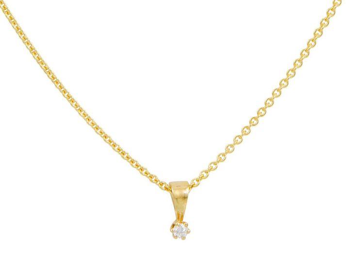 Glow Gouden Ketting met diamant 0.03 ct - gh/si3 45 cm 202.2005.45. Prachtig 14 karaats geelgouden ankercollier met bijpassende geelgouden solitaire hanger. In de hanger is door middel van een chatonzetting en diamant gezet van 0.03 ct. https://www.timefortrends.nl/sieraden/gouden-sieraden/gold-collection.html?___SID=U#p=7