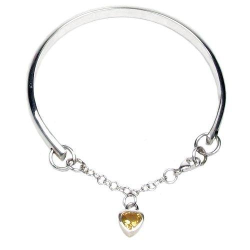 Elinor Rose Hallmarked Sterling Silver November Birthstone Charm Bangle. Available at Childrens Jewellery UK. #birthday #present #personalised #birthstone #childrensgifts