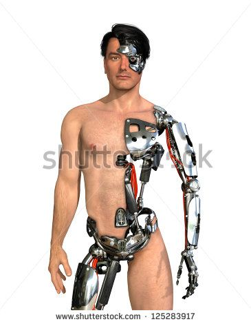 A man has had large areas of his body replaced with robotic parts - 3D render with digital painting.