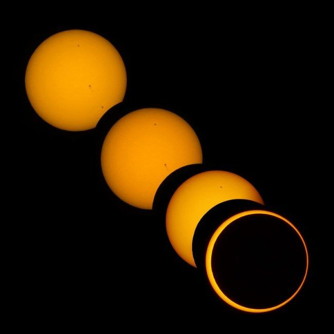 Various stages of an annular solar eclipse from Brocken Inaglory via Wikimedia Commons.
