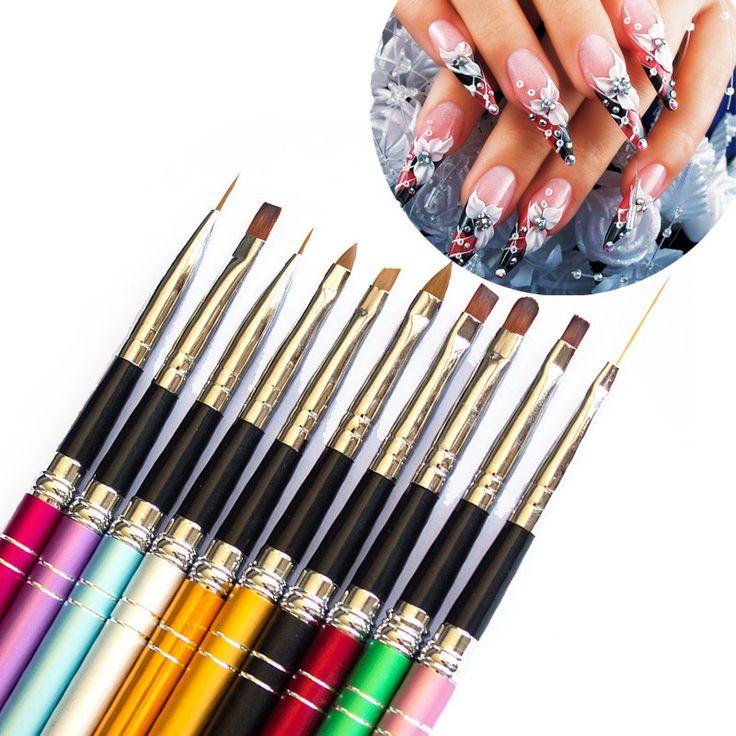 УФ-Гель Дизайн Ногтей 3D Nail Art Картина Кисти Ручки Набор Красочный Металла 10 Шт.