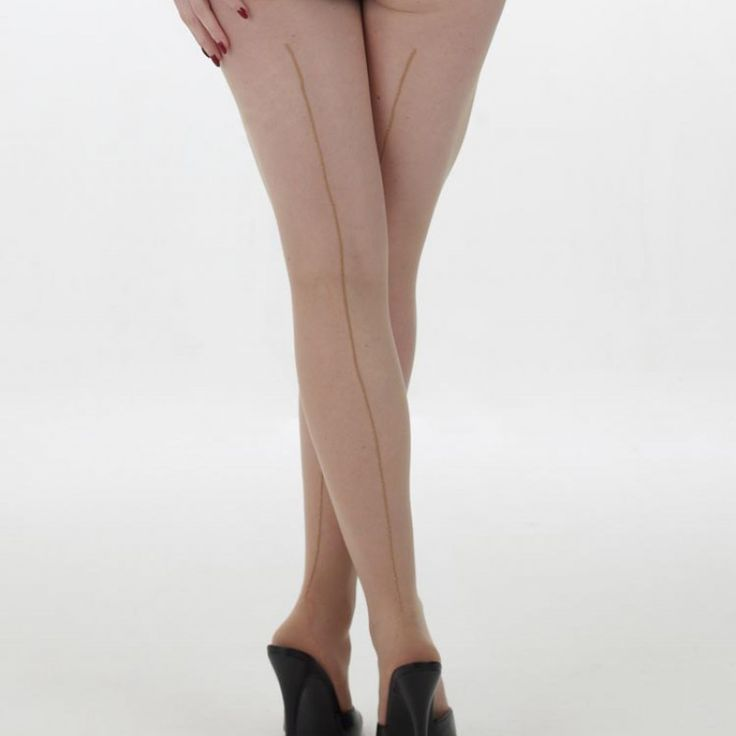 "What Katie Did – Metallic Seamed Tights Champagne/Gold S/M * Sophisticated sheer seamed tights with a contrasting glittering lurex seam * Gold seam is quite subtle, silver seam more striking * Adds intriguing vintage glamour to your ensemble * Sheer 15 denier with point heel and seam to the top of the leg  Fits Small to Medium 5ft 1"" to 5ft 7"" (45kg to 66kg) #WhatKatieDid"