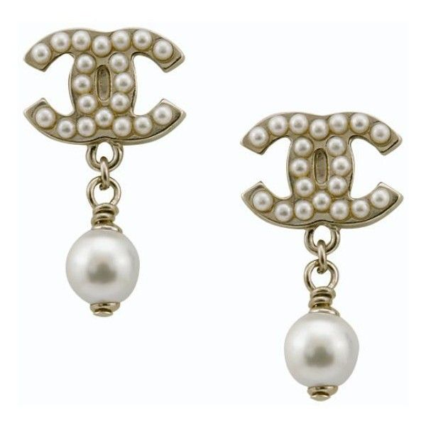 Chanel Signature Pearl Logo Earrings (210 PEN) ❤ liked on Polyvore featuring jewelry, earrings, accessories, chanel, logo jewelry, chanel earrings, white pearl drop earrings, chanel jewellery and pearl jewellery