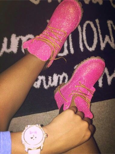 Custom made sparkly pink Timbs...haha...woah