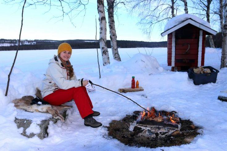 Enjoying Lapland's nature in Lake Puolamajärvi in Pello in Finnish Lapland