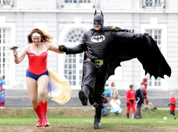 Super Hero Wedding Bride and Groom Running to Save the Day not going to do this but it made me laugh