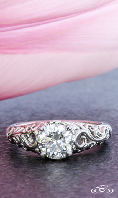 Curl Scroll Pattern Engagement Ring. Green Lake Jewelry