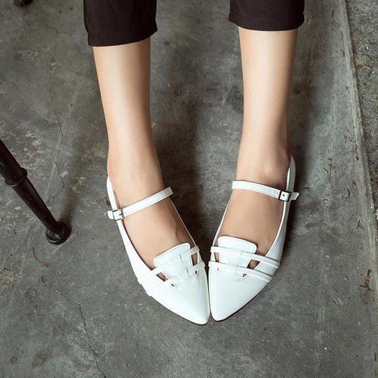 Бесплатная доставка свободного покроя дамы квартиры обувь мода острым носом женская обувь искусственной кожи пряжки ремень Zapatos Mujer размер 36 39 купить на AliExpress