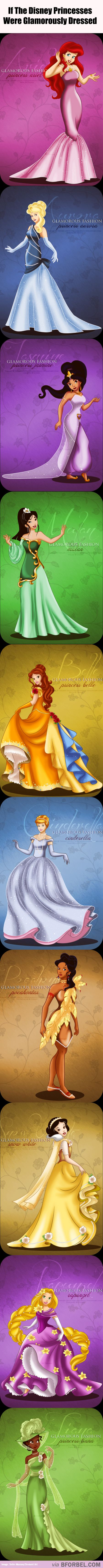 10 Glamorously Dressed Disney Princesses…<<<I want Belle's and Mulan's dresses