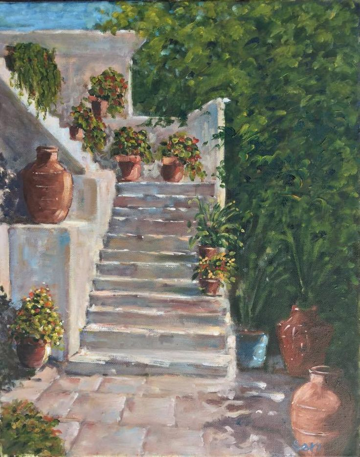 Fel a lépcsőn Up the stairs Basamaklar 50 x 40 cm  oil on canvas