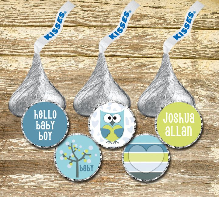 A personal favorite from my Etsy shop https://www.etsy.com/ca/listing/270187353/hershey-kiss-stickers-baby-shower-boy