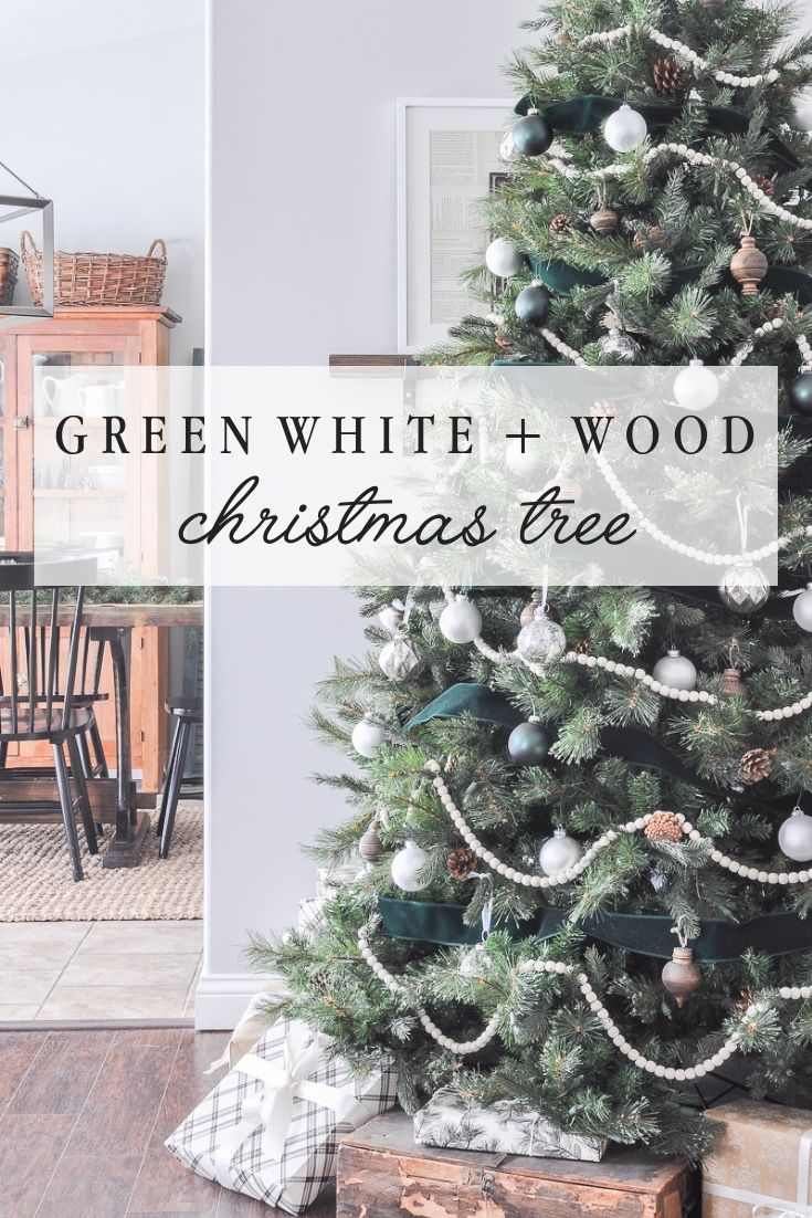 Green White And Wood Christmas Tree Green Christmas Tree Decorations Bead Garland Christmas Tree White Christmas Ornaments