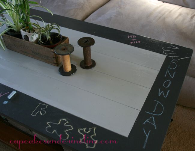 This idea is cute! And fun for the kids. I may make the whole thing a chalkboard though, not just the edge. Chalkboard Coffee Table | Cupcakes & Crinoline
