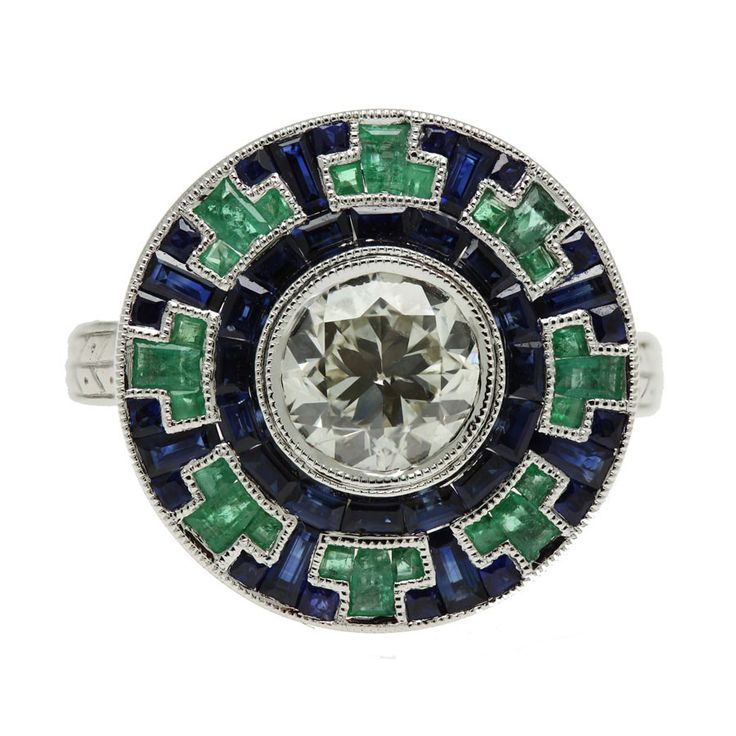 Art Deco Ring - 18K White Gold Emerald and Sapphire
