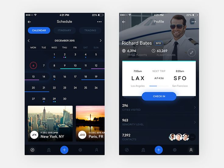 Some more screens from the dark version of the flight crew app—calendar and profile. The profile view gathers statistics about the users and always show the next work shift with easy check in possi...