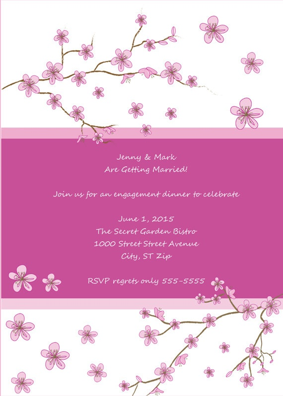 cherry blossoms invitation pink white cherry blossom floral botanical wedding bridal. Black Bedroom Furniture Sets. Home Design Ideas