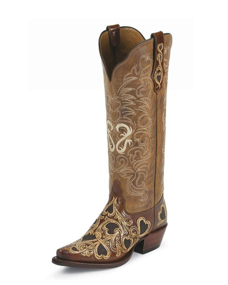 Tony Lama Women's Hearts & Scroll Cognac Cowgirl Boots