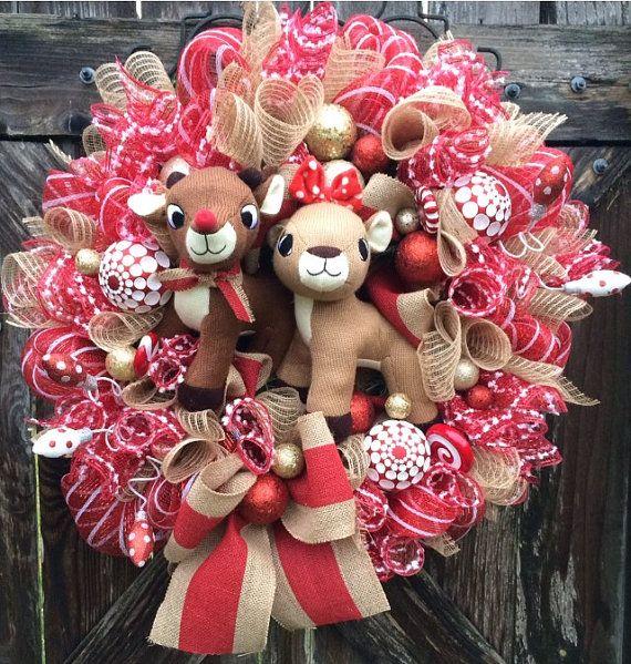 Rudolph Wreath Christmas Wreath Christmas Mesh by BaBamWreaths