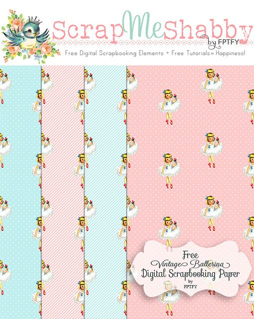 Free  vintage ballerina digital scrapbooking paper by FPTFY web ex by Free Pretty Things For You!, via Flickr