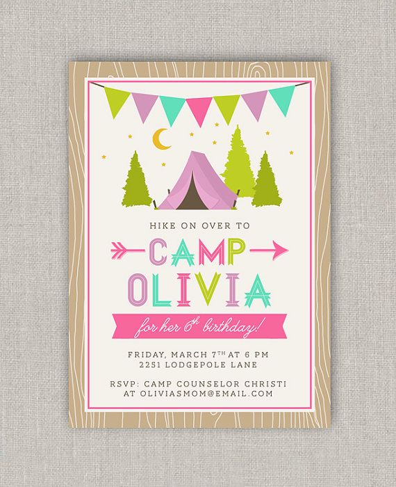 Glam Camping Birthday Invitation by announcingyou on Etsy, $15.00