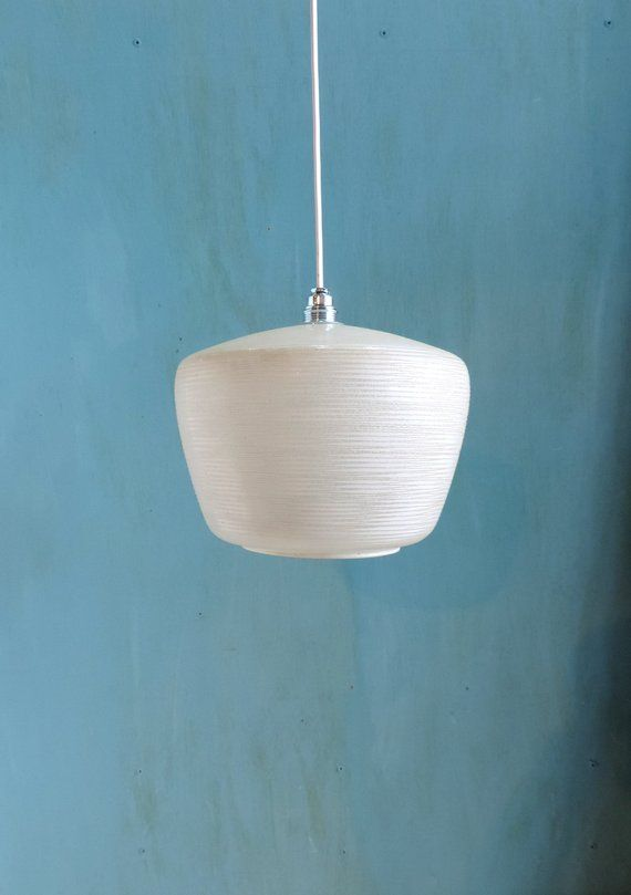 A Vintage French Hand N Gl Ceiling Or Pendant Light With White Lied Texture Design Mid Century