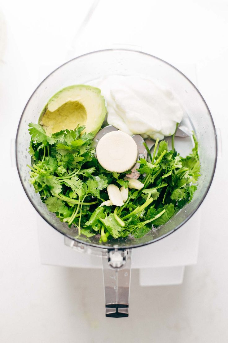Avocado Cilantro Dressing -1/2 Avodaco, 1/4 Cup Sour Cream, 1/2 Cup Water, 1 cup Cilantro leaves and stems, 1 sm clove Garlic, 1/2 tsp salt, squeeze of lime juice -Blend until smooth