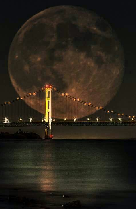 Blue Moon, this was taken 7-31-2015 in Michigan at the Mackinac Bridge in all it's glory...