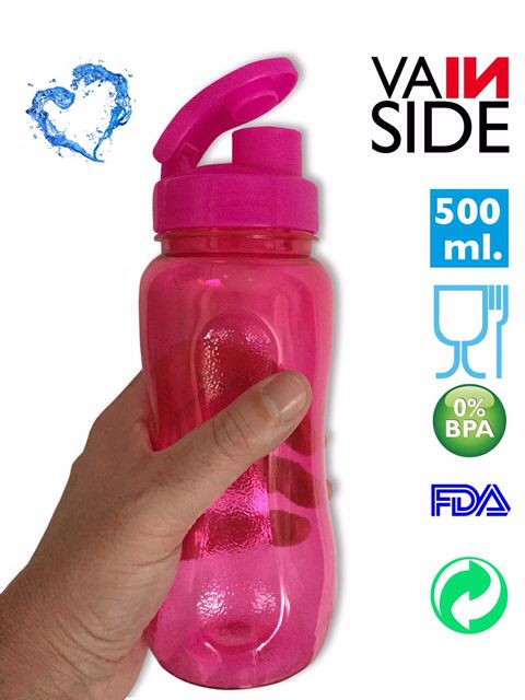 Botella VAINSIDE Oasis Fitness 600ml. Rosa.
