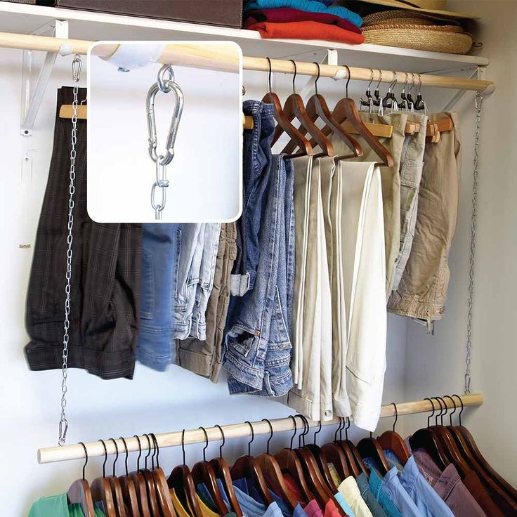 Add-On Clothes Rod - Very few people have too much closet space (and if you do, don't brag). Here's an easy way to add space for hanging clothes (or at least clothes that don't require a tall space). Hang a second clothes rod from the upper rod with lightweight chain. Attach the chain to screw eyes directly or use S-hooks or carabiners. Carabiners make adjusting the height of the extra rod a snap. This system works well in kids' closets since they grow quickly (and their clothes grow along…