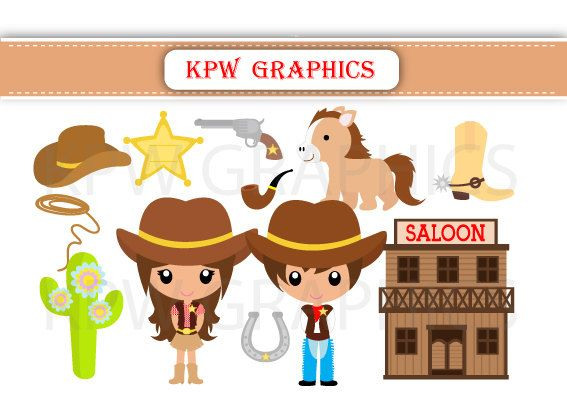 Western Cowboy and Cowgirl Clipart PNG Personal & by KPWgraphics