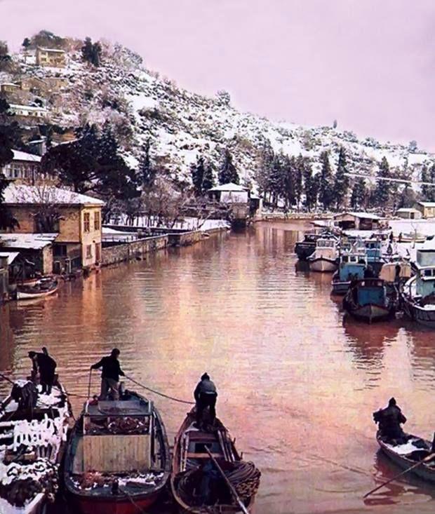İstanbul, Göksu'da kış ve balıkçılar 1970'ler.