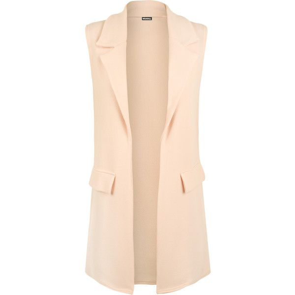 Kellia Long Sleeveless Waistcoat ($25) ❤ liked on Polyvore featuring outerwear, vests, jackets, nude, long vest, long waistcoat, pocket vest, sleeveless vest and beige vest