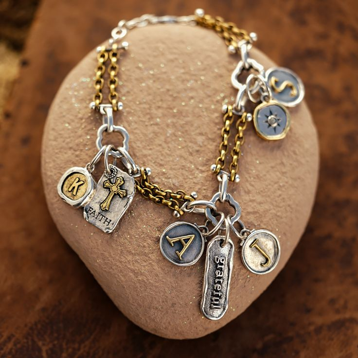 Waxing Poetic- Brass And Silver Bracelet With Charms