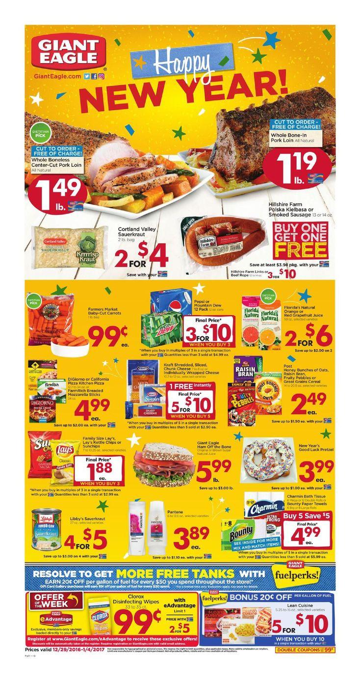 Giant Eagle Weekly Ad December 29 - January 4, 2017 - http://www.olcatalog.com/grocery/giant-eagle-weekly-ad.html