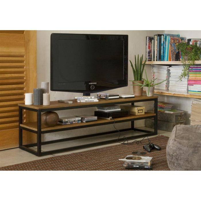 facto meuble tv industriel plateau plaqu ch ne vernis et pieds en m tal laqu poxy noir l. Black Bedroom Furniture Sets. Home Design Ideas
