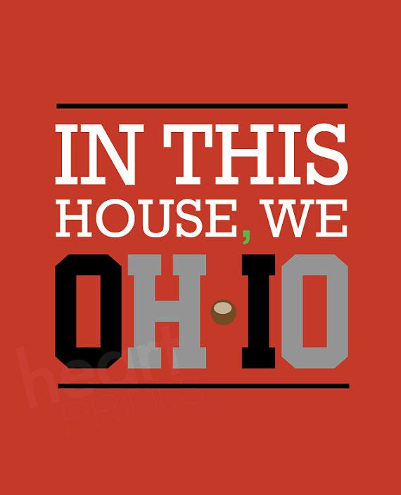 """ohio state sports team red wall art """"in this house we oh-io"""" - digital file - 8.5x11"""