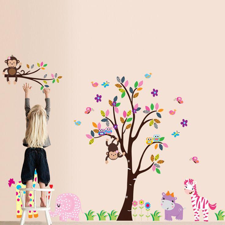 Vidám, virágos fa elefánttal, zsiráffal, vízlóval, zebrával majmokkal gyerekszoba dekoráció. #elefánt #zebra #víziló #zsiráf #majom #gyerekszobafalmatrica #falmatrica #gyerekszobadekoráció #gyerekszoba #matrica #faldekoráció #dekoráció
