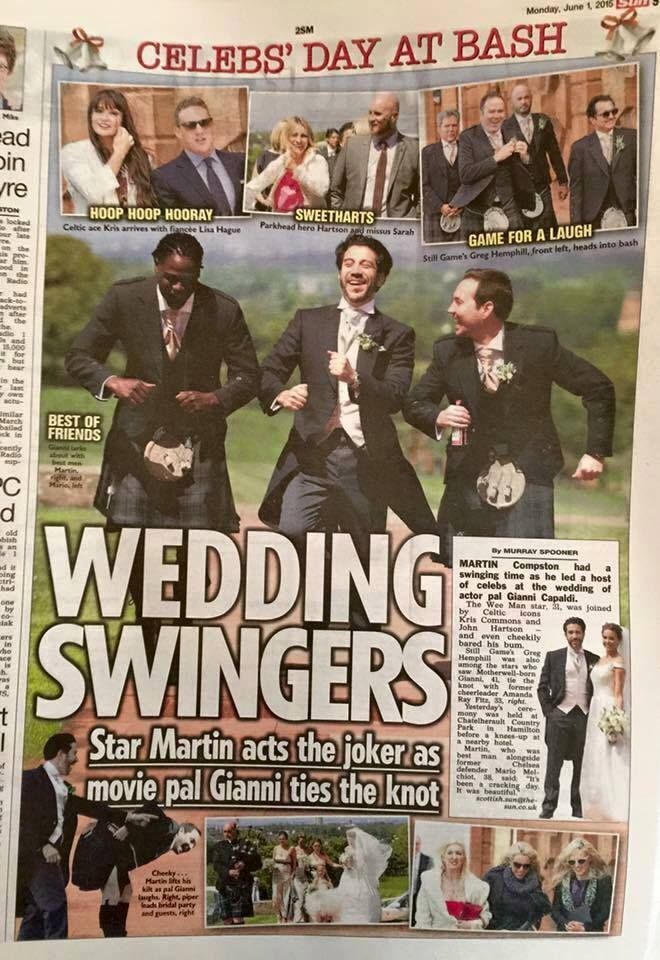 Wedding of LA Actor Gianni Capaldi and Amanda Fitz featured in The Scottish Sun. The bride wore a Suzanne Neville 'Lady' gown. #TheCapaldis #GianniCapaldi #TheScottishSun #EleganzaSposa #celebrity #Newspaper #SuzanneNeville #Lady #weddingdress #weddinginspiration #Glasgow #BridalBoutique #Scotland
