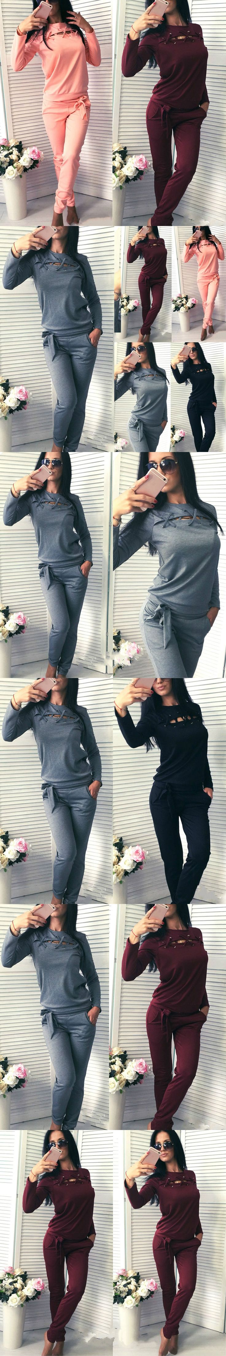Fashion Spring Autumn Women 2 Piece Set Solid Color Long Sleeve Tops + Pants Bandage Ladies Girls Casual Sportswear FS99