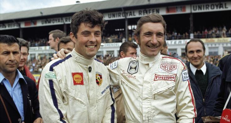 """Brian Redman and Jo """"Seppi"""" Siffert at the 1970 Nurburgring 1000kms. Team mates in the pole-sitting John Wyer/Gulf"""