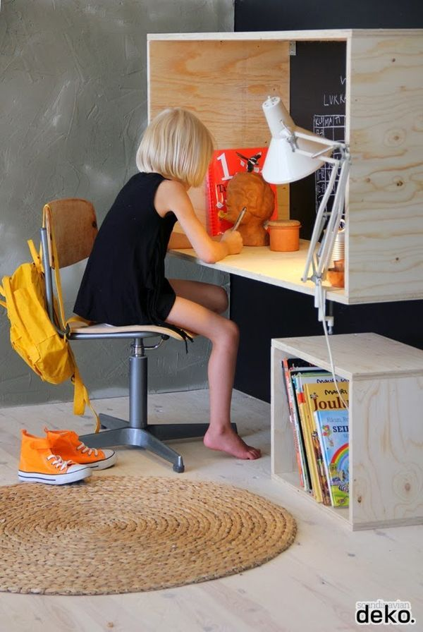 An oversized cubby or box shelf can also serve as a desk. It can be mounted on the wall and can become a private nook. A smaller cubby can be for storage and it can be mobile.
