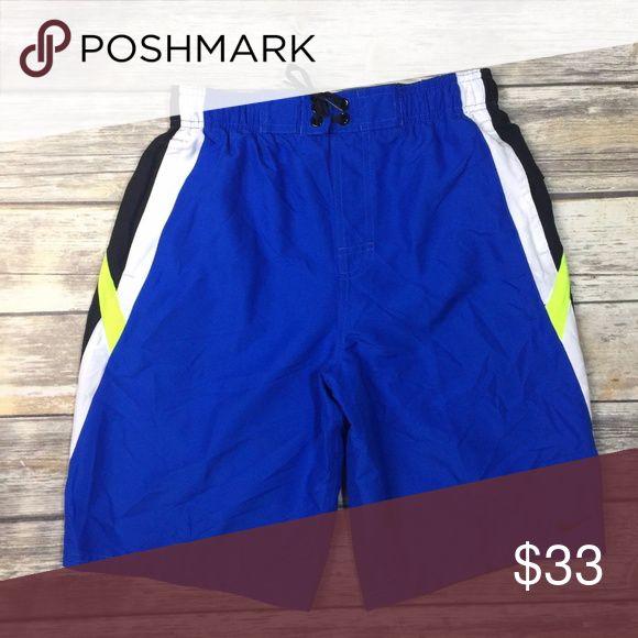"Nike Small Mens Swim Shorts Trunks Blue Black Nike Small Mens Swim Shorts Trunks Blue Black Green 717384 425 NWT Size: Small Waist: 13.5 Across Unstretched Inseam: 10.5""  Liner Nike Swim Swim Trunks"