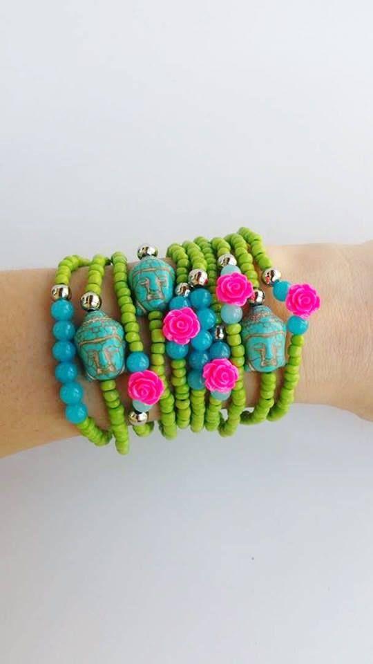 turquoise buddha  Beaded bracelets  layering bracelets