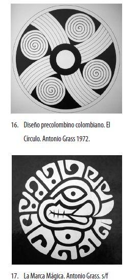 """Es importante anotar que parte de la obra pictórica de Grass, se deriva de la investigación sobre el arte precolombino. El título que dio a sus obras lo refleja: """"Escudo mítico"""" (1964), """"Muros Mayas""""(1967) y """"Hombres expectantes""""(1983), son algunas de ellas (18)."""