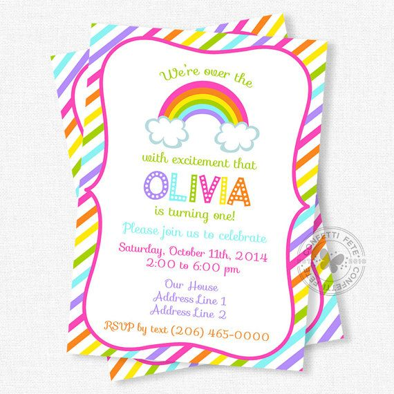 63 best Rain themed party images – Rainbow Themed Birthday Invitations