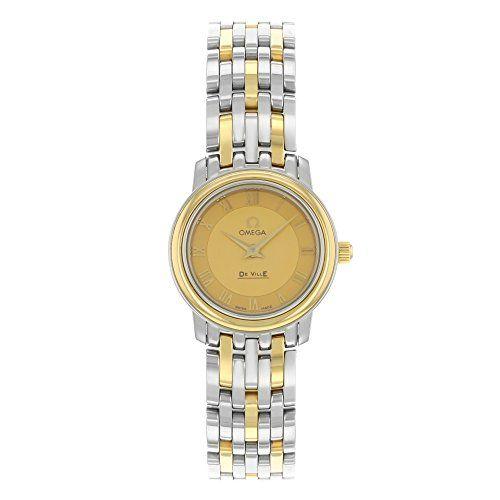 #ladiesgoldwatch Omega De Ville Prestige 4370.12 Steel & 18K Yellow Gold Quartz Ladies Watch Check https://www.carrywatches.com