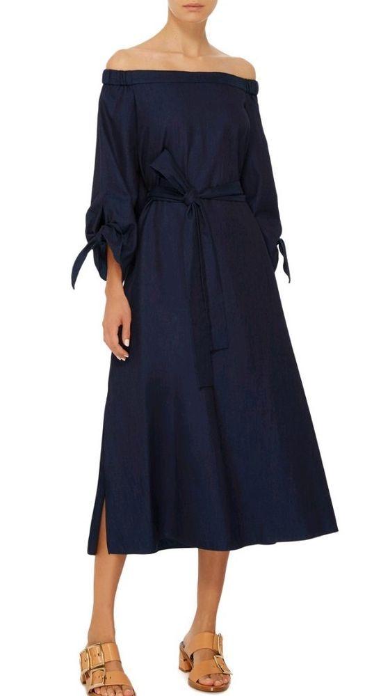 fa4c35d5ba  DenimDress TIBI Off-The-Shoulder Tie Cuff Sleeve Denim Midi Dress Blue 4