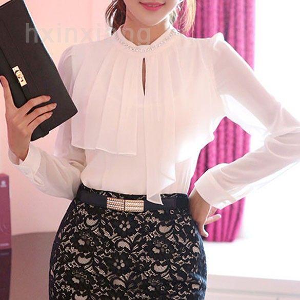 Blusas femininas blusa elegante de la gasa de trabajo Ladies cuello alto flojo moda de manga larga mujeres camiseta ocasional 29