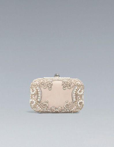 SATIN AND PEARL BOX CLUTCH - Handbags - Woman - ZARA